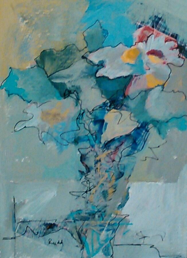 """Inky Daisies"" original fine art by Ann Rudd"
