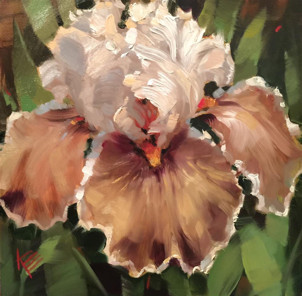 """Coffee Whispers : Tall Bearded Iris"" original fine art by Krista Eaton"