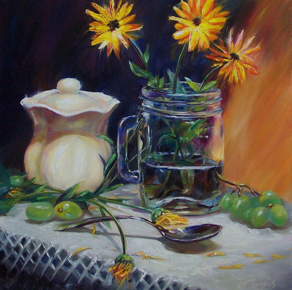 """""""Late Summer Golden Daisies"""" original fine art by Donna Munsch"""