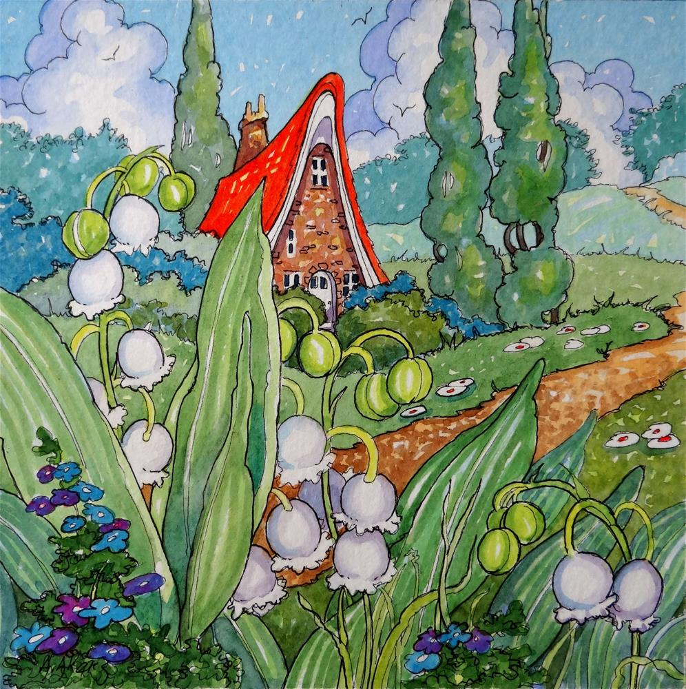 """Lily of the Valley Cottage Storybook Cottage Series"" original fine art by Alida Akers"