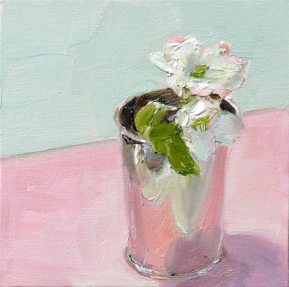 """Apple Blossoms,still life,oil on canvas,6x6,price$200"" original fine art by Joy Olney"