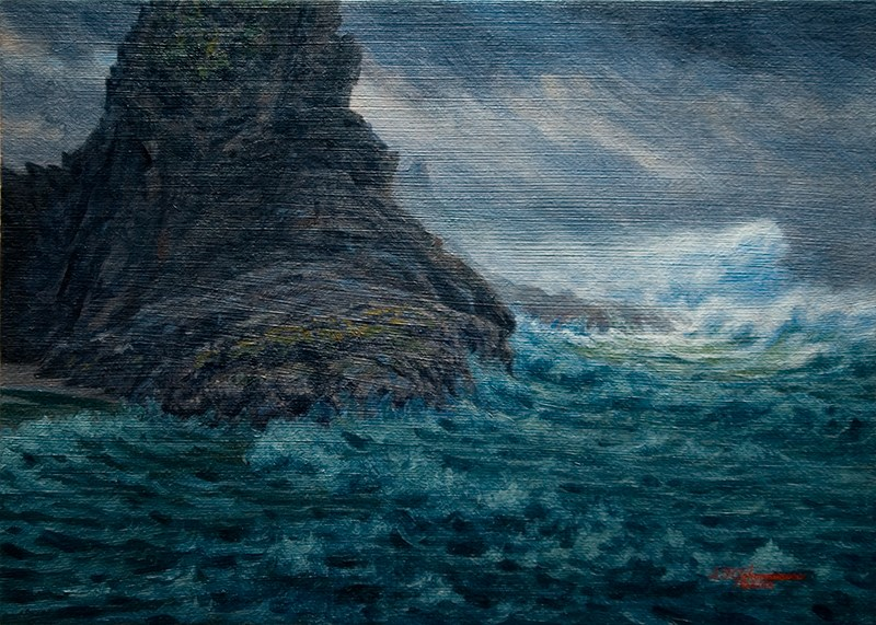 """C1599 A Light in the Storm (Oregon Coast)"" original fine art by Steven Thor Johanneson"