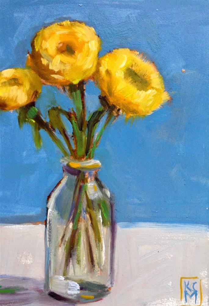 """Yellow Fleurs, 5x7 inch Oil Painting by Kelley MacDonald"" original fine art by Kelley MacDonald"