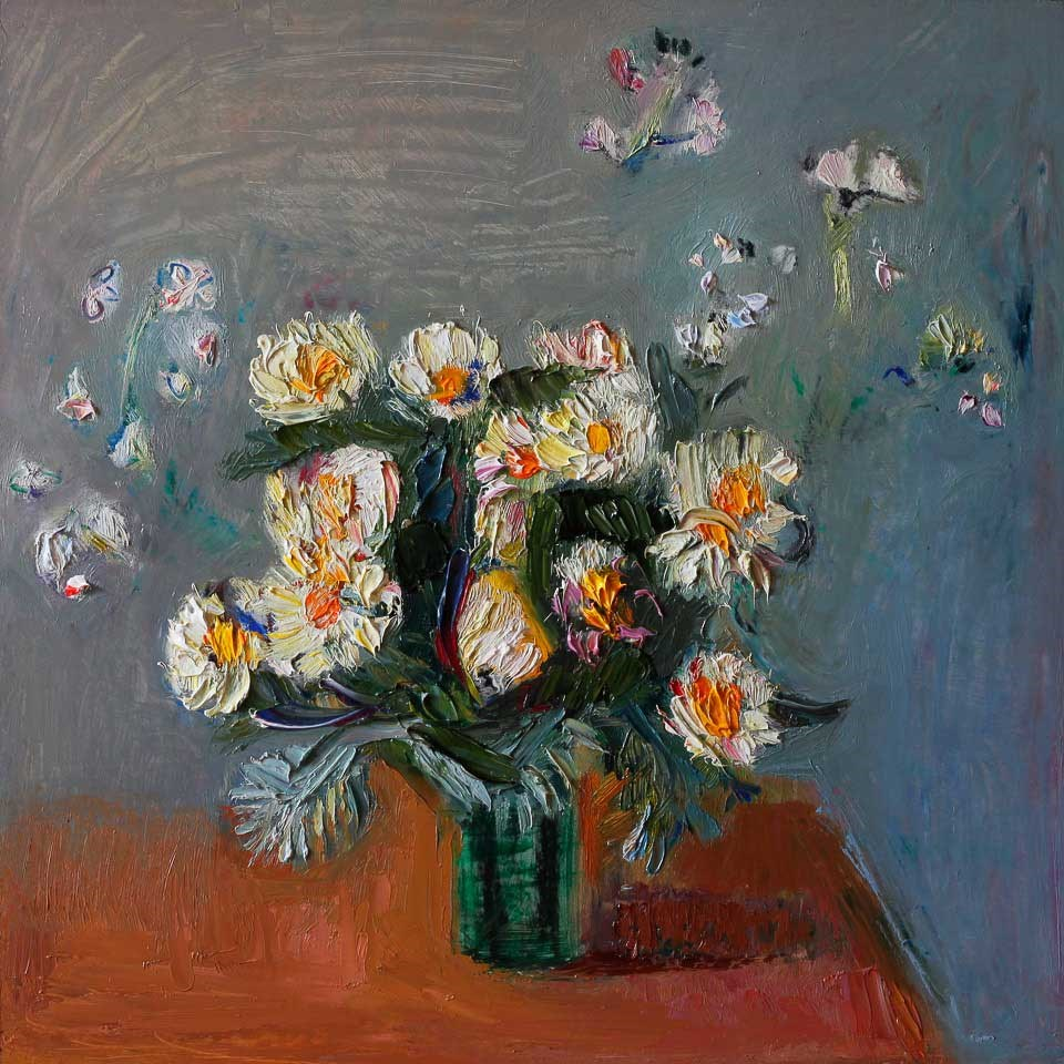 """Bouquet of White Daisies in a Vase"" original fine art by Anna Fine Art"