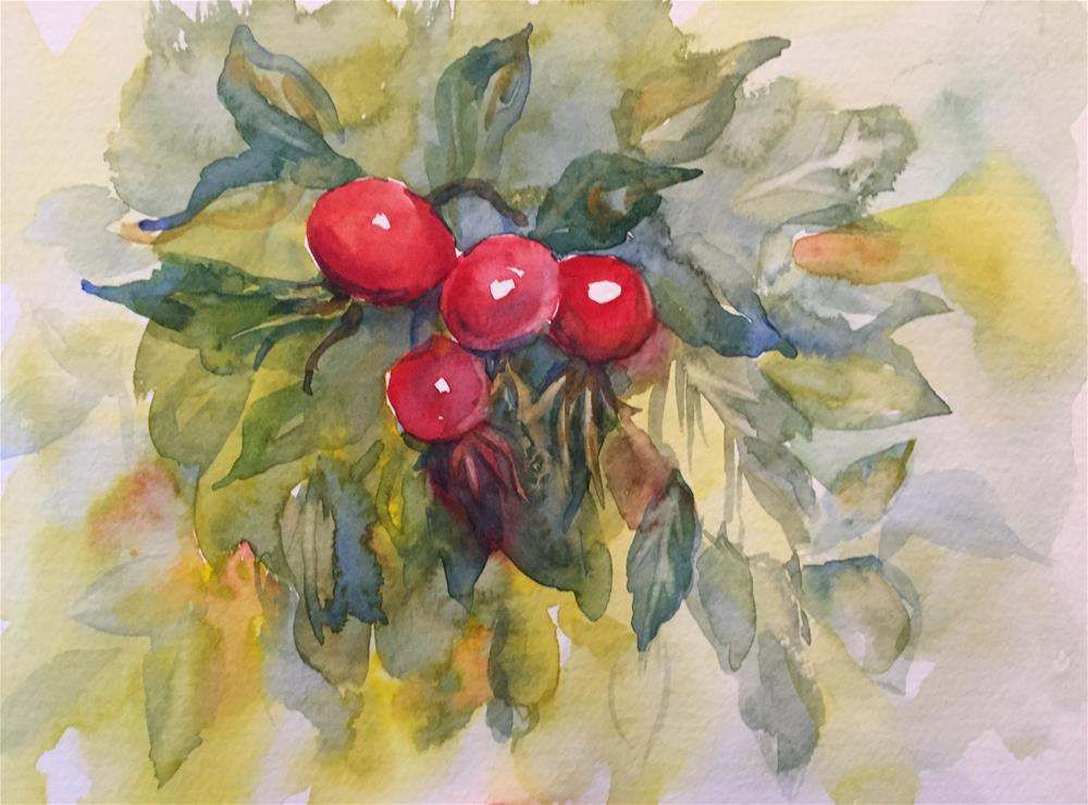"""Wild rosebuds"" original fine art by Natasha Ramras"