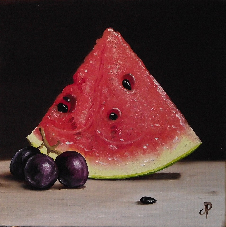 """Watermelon with grapes"" original fine art by Jane Palmer"