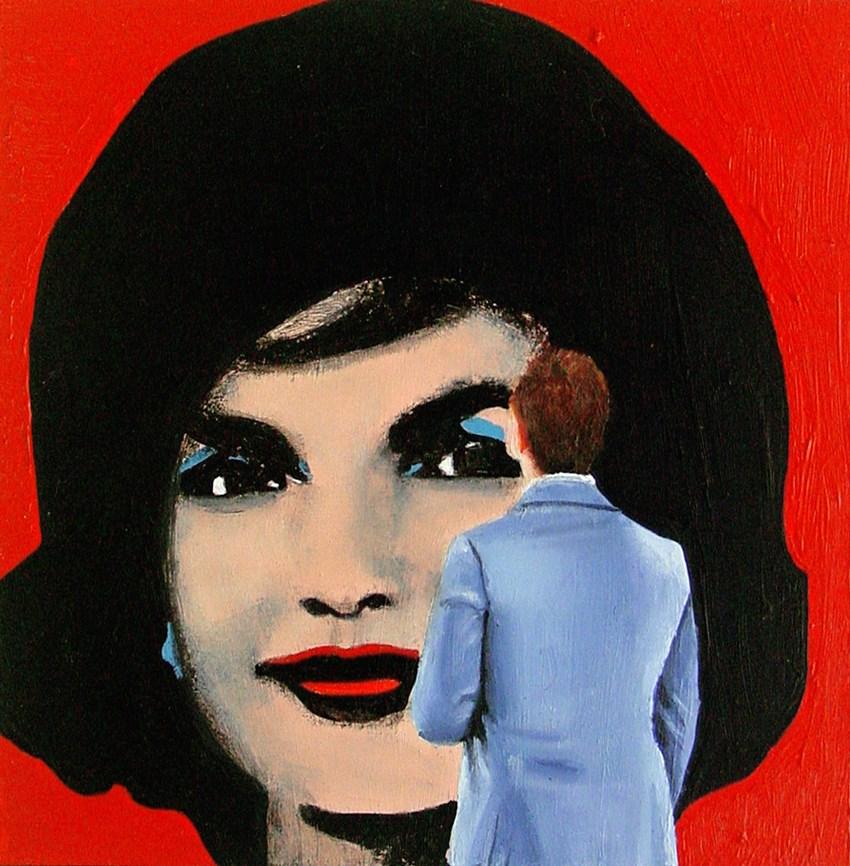 """Jackie- Painting Of Man Enjoying Painting Of Jackie Kennedy By Andy Warhol"" original fine art by Gerard Boersma"