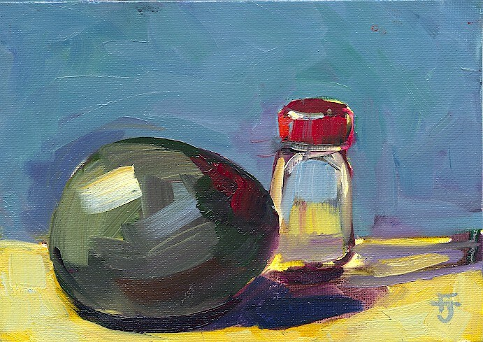 """Avocado and Salt Shaker"" original fine art by Francine Dufour~Jones"