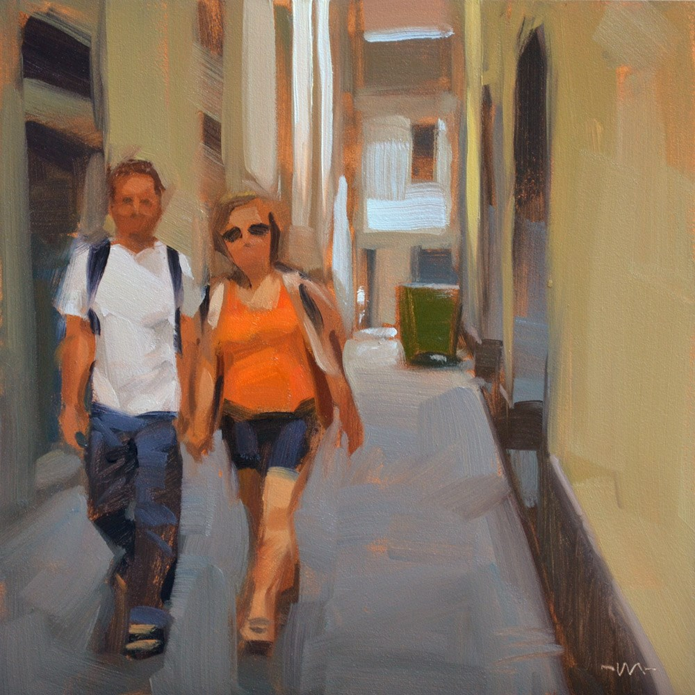 """Tourists in the Alley"" original fine art by Carol Marine"
