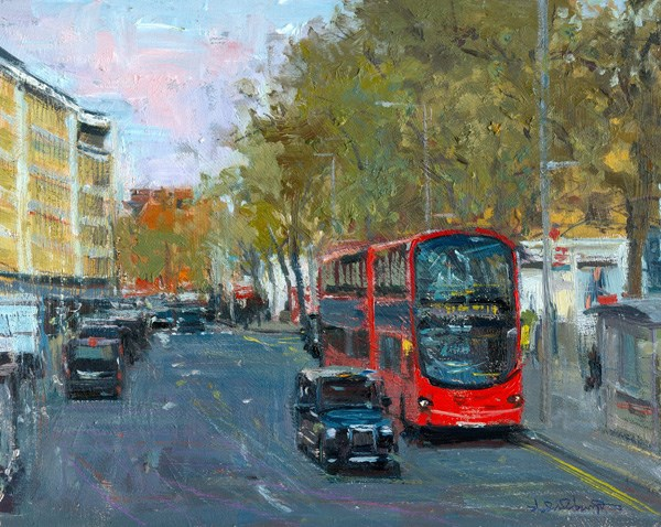"""Grey Evening Light, King's Road (17) Chelsea Marathon"" original fine art by Adebanji Alade"