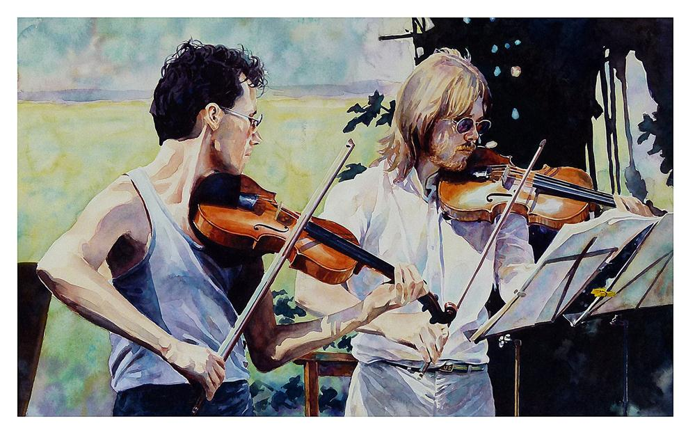 """Buskers in the park"" original fine art by Graham Berry"