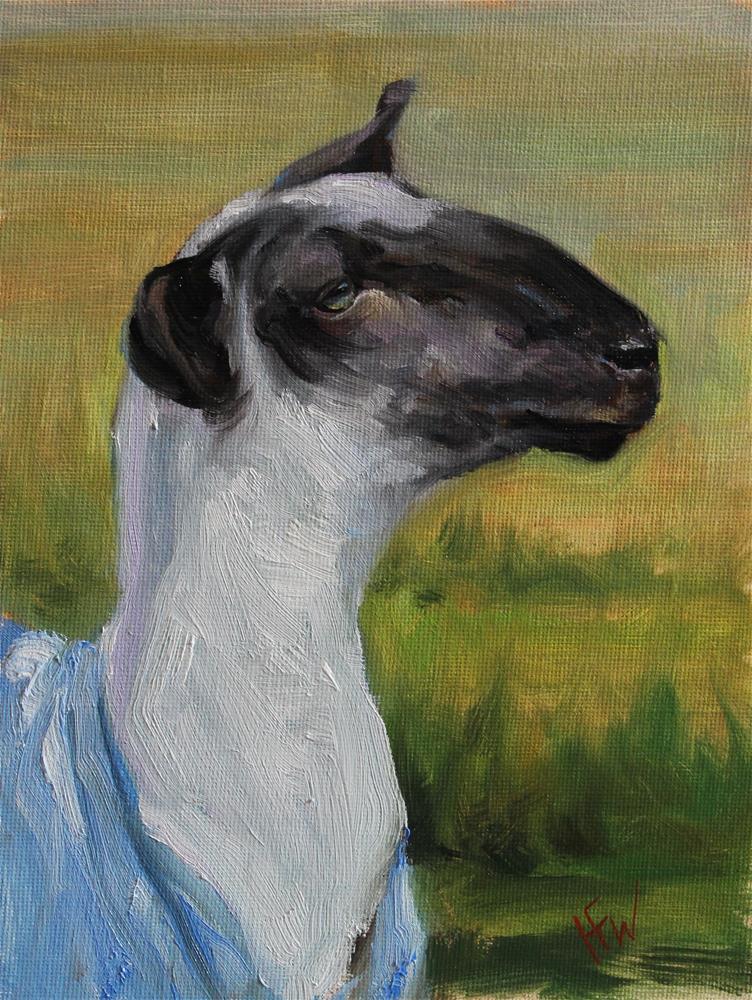 """Sheep in Blue"" original fine art by H.F. Wallen"