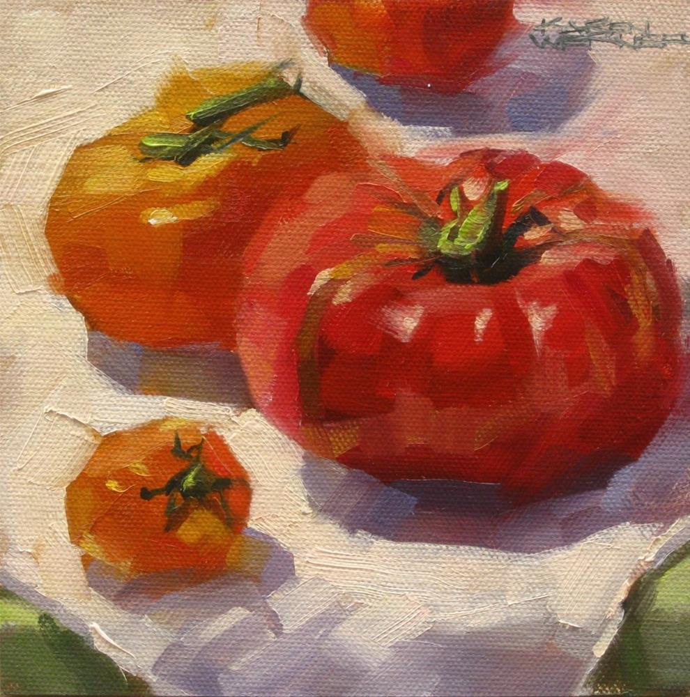 """Heirloom Tomatoes"" original fine art by Karen Werner"