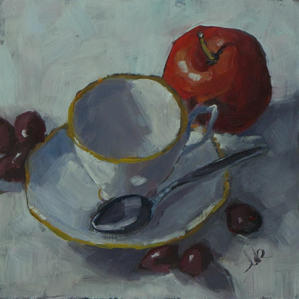 """""""Red Apple and Tea Cup"""" original fine art by Louise Kubista"""