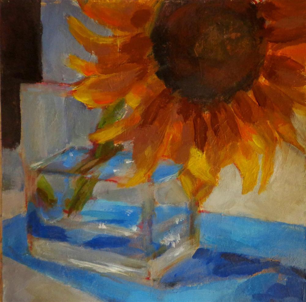 """""""Sunflower in a vase"""" original fine art by Maria Z."""