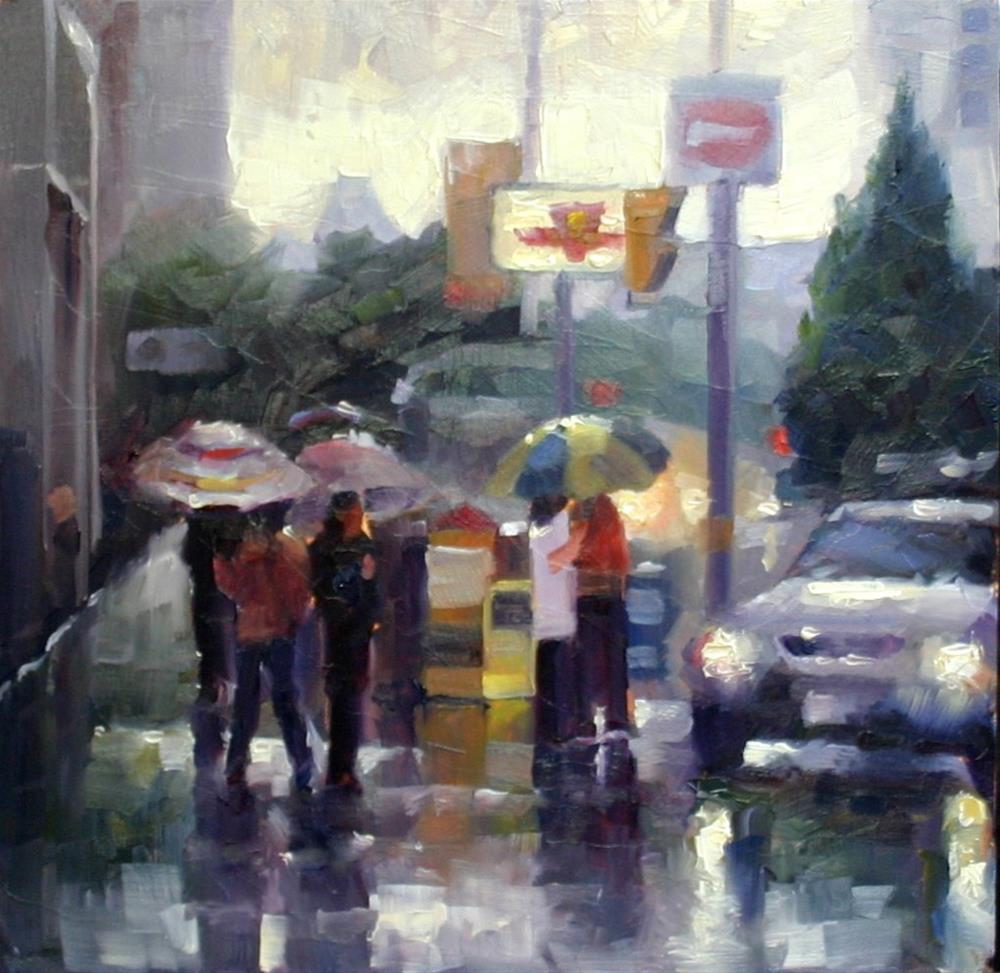 """Umbrellas on Dundas Street, Toronto"" original fine art by Catherine Jeffrey"
