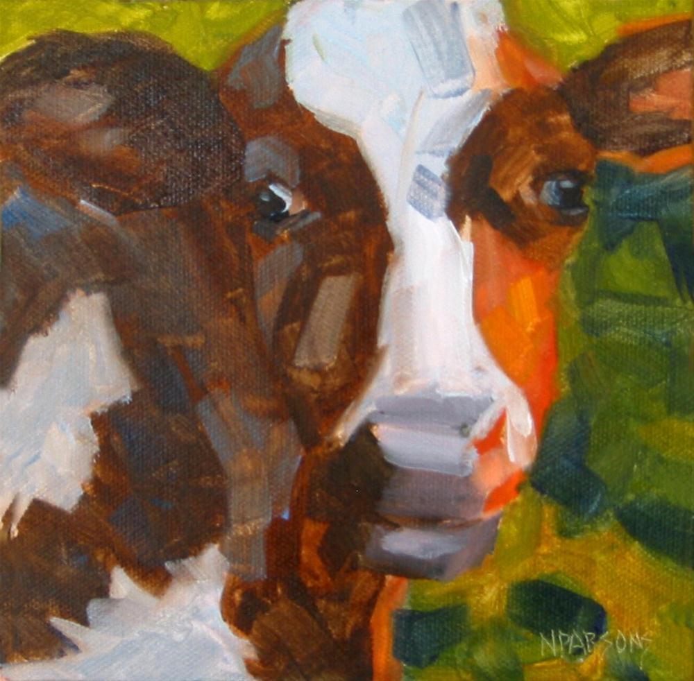 """How Now Brown Cow"" original fine art by Nancy Parsons"