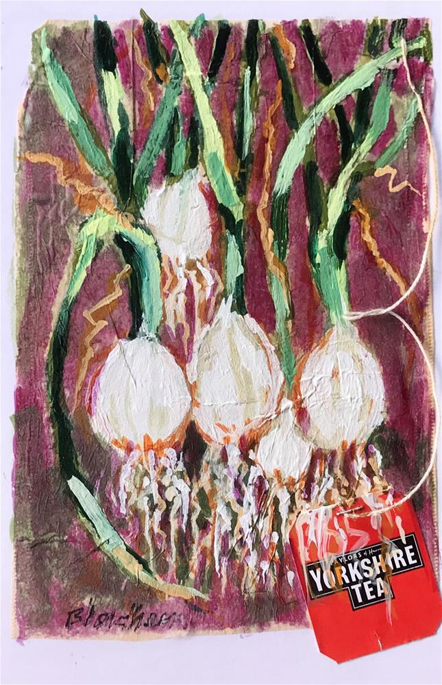 """Tea Bag Painting Green Onions"" original fine art by Linda Blondheim"
