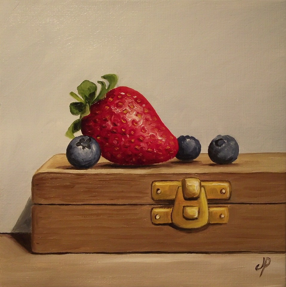 """Berries on a box"" original fine art by Jane Palmer"