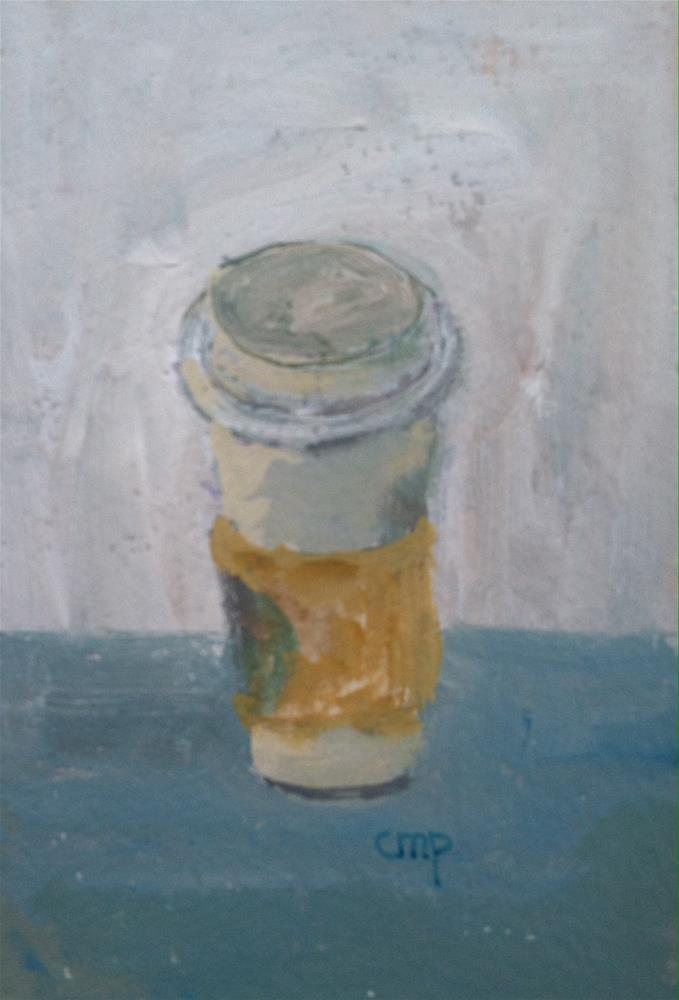 """Coffee takout 4x6 inches"" original fine art by Christine Parker"