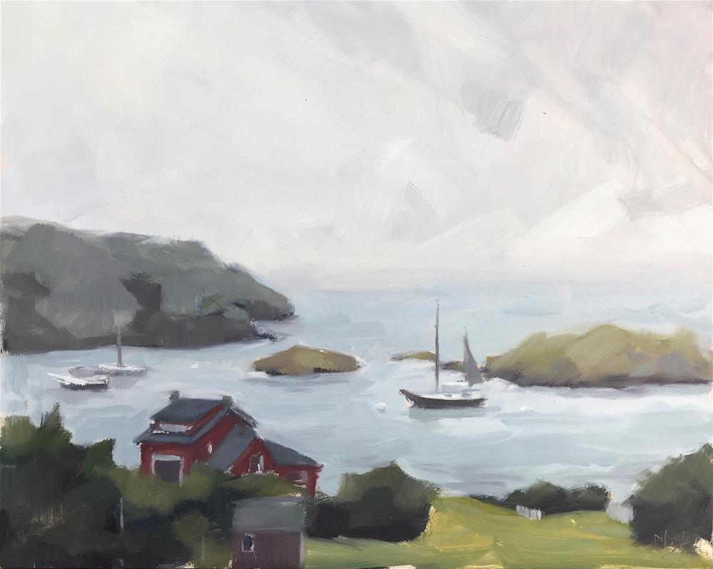"""Monhegan Dock View"" original fine art by Sharon Schock"