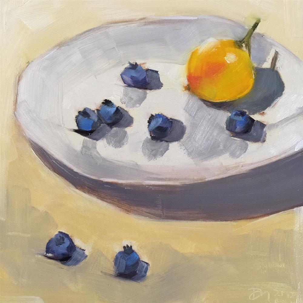 """124 Blueberries with Lemon"" original fine art by Jenny Doh"