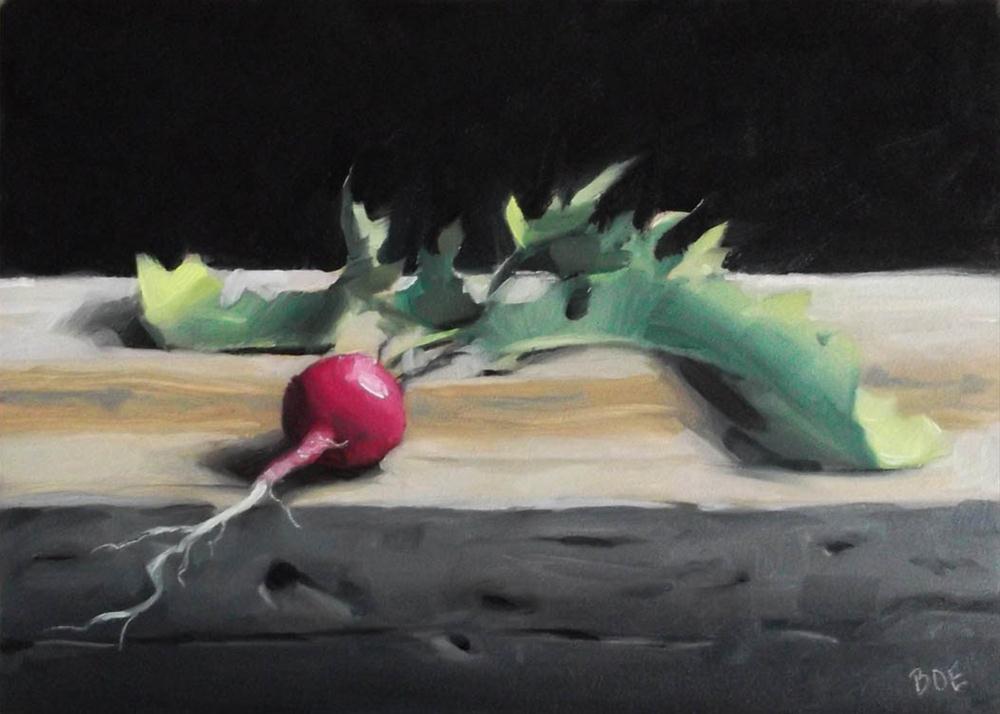 """Radish on Wood Plank"" original fine art by Karen Boe"