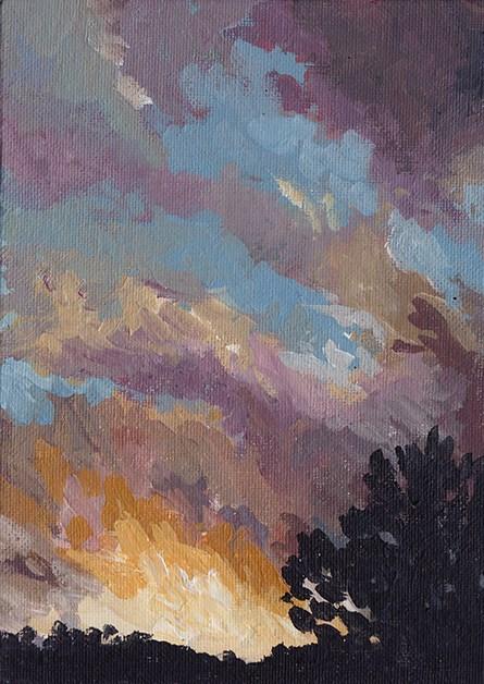 """Skying: Sunset"" original fine art by J M Needham"