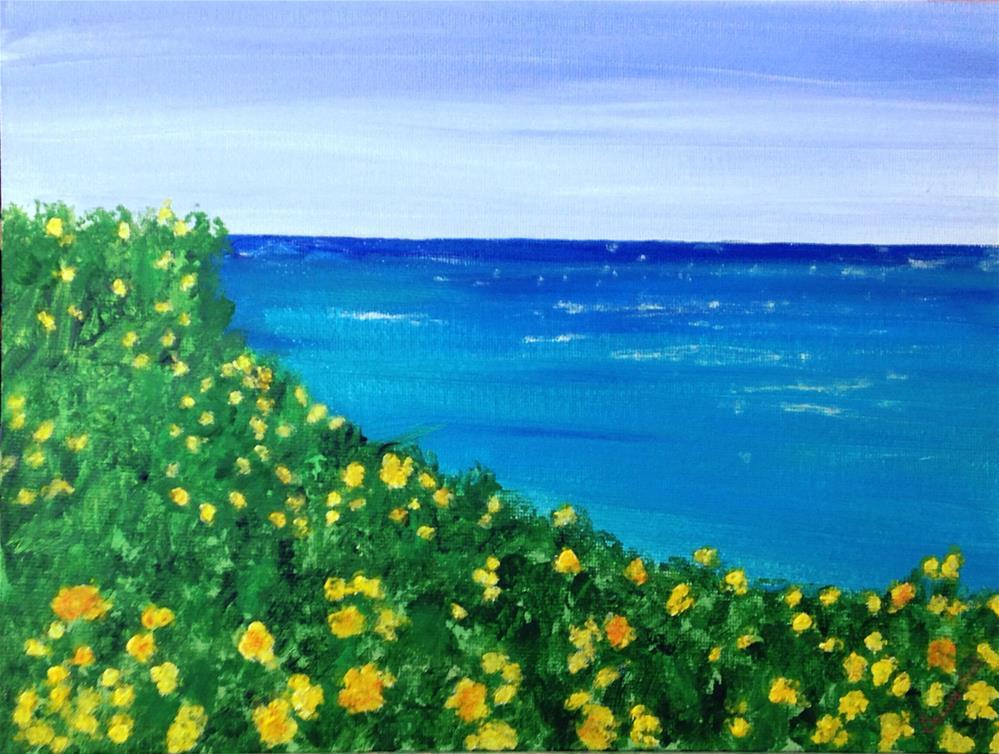 """Wildflowers at the Beach"" original fine art by Brenda Smith"
