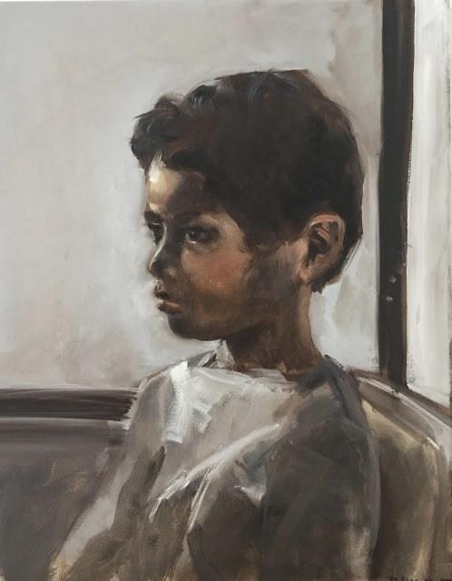 """""""Child at the window"""" original fine art by Philine van der Vegte"""
