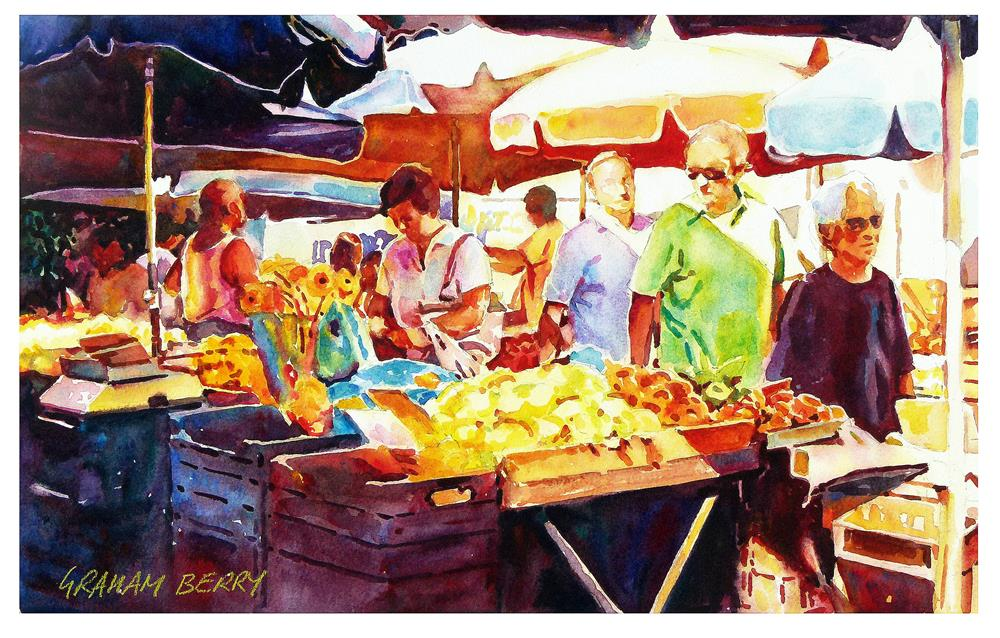 """Market day"" original fine art by Graham Berry"