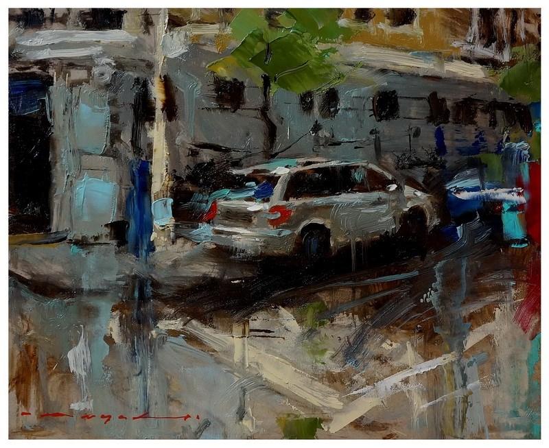 """19:15 - Urban Landscape"" original fine art by Angel Angelov"