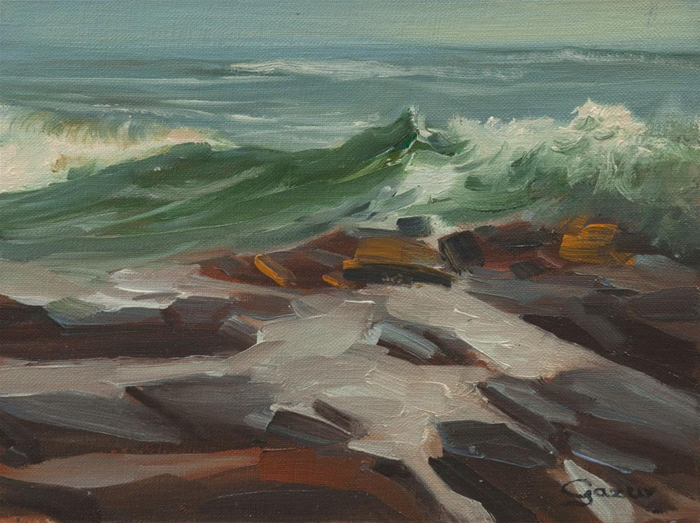 """""""Leffingwell Cove Wave in Cambria 6x8"""" original fine art by Pavel Gazur"""