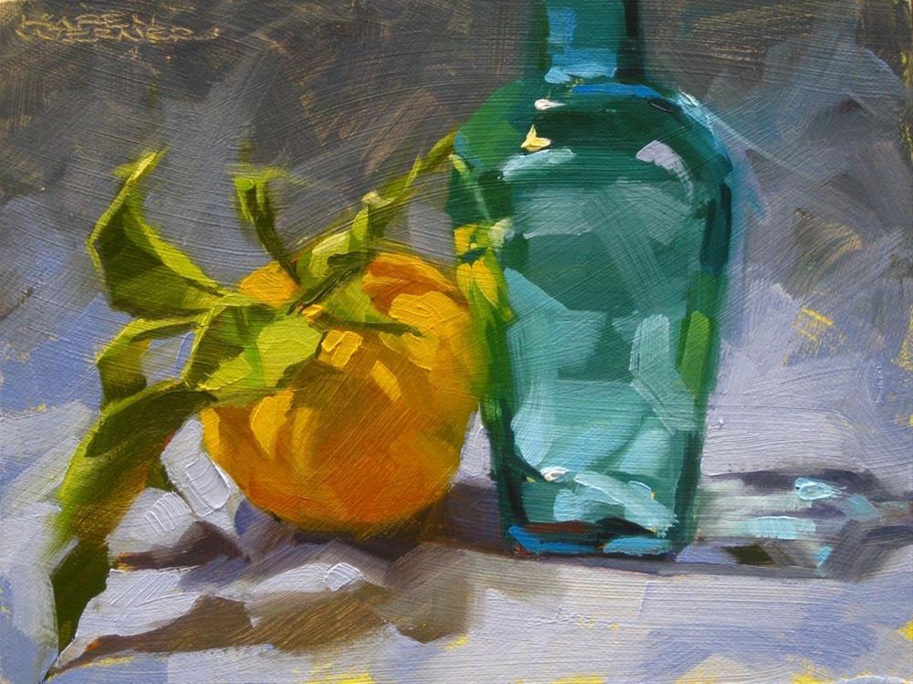 """""""Leaning Lemon"""" original fine art by Karen Werner"""