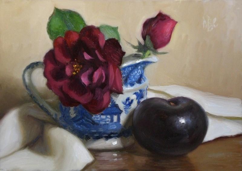 """""""Rose and Black Plum"""" original fine art by Debra Becks Cooper"""