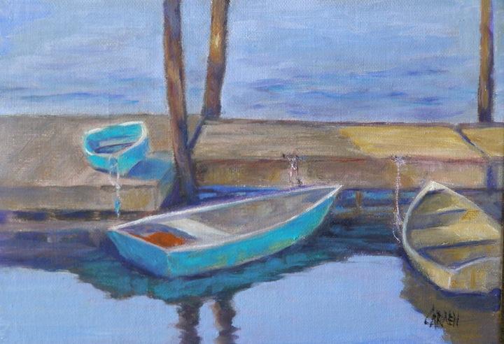 """""""Dinghies, 5x7 Oil on Canvas Board"""" original fine art by Carmen Beecher"""
