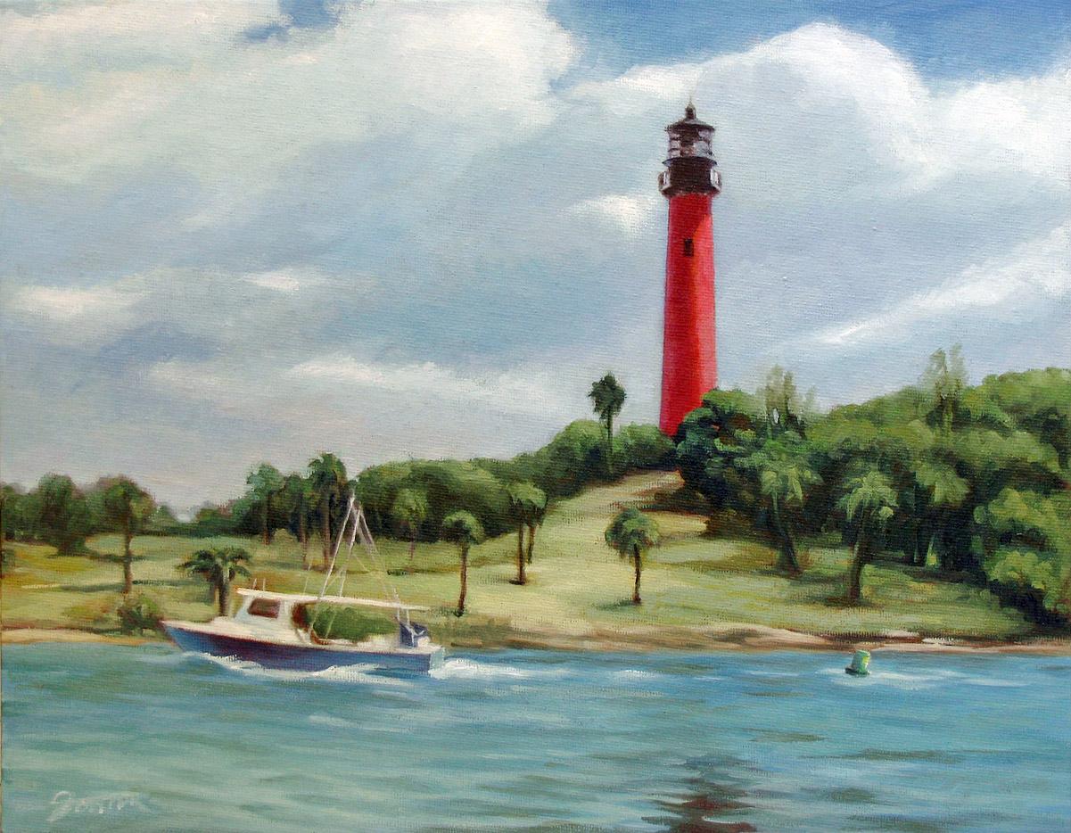 """Jupiter Inlet Lighthouse"" original fine art by Joanna Bingham"