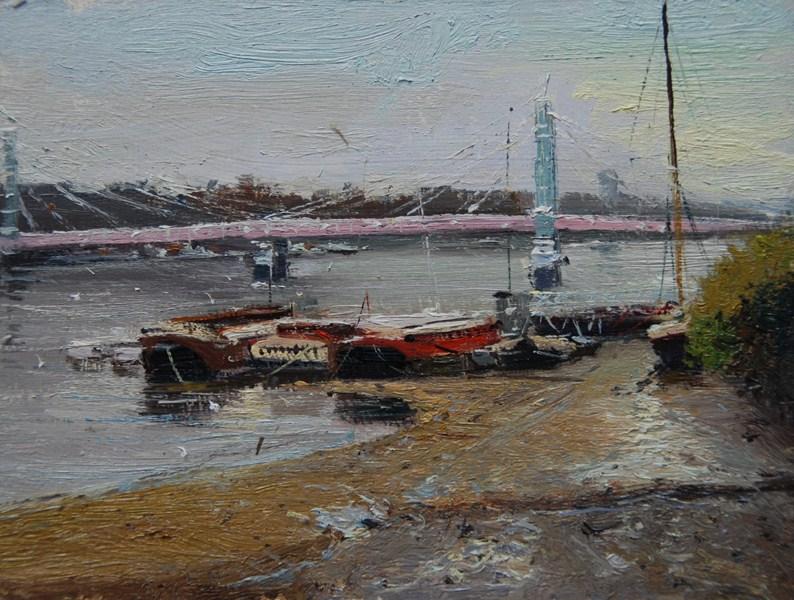 """Morning Light Albert Bridge, From Battersea Bridge"" original fine art by Adebanji Alade"