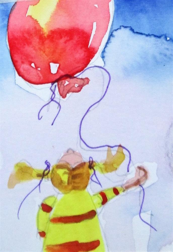 """Girl and Red BAlloon"" original fine art by Delilah Smith"