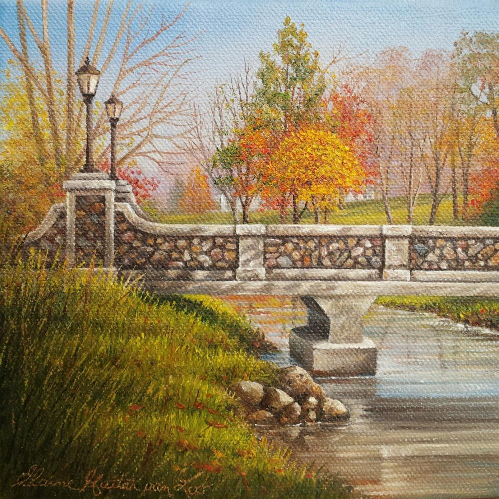 """Autumn at Lakeside "" original fine art by Elaine Guitar van Loo"