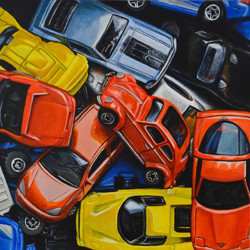 """Matchbox Cars with Beetle"" original fine art by Kim Testone"