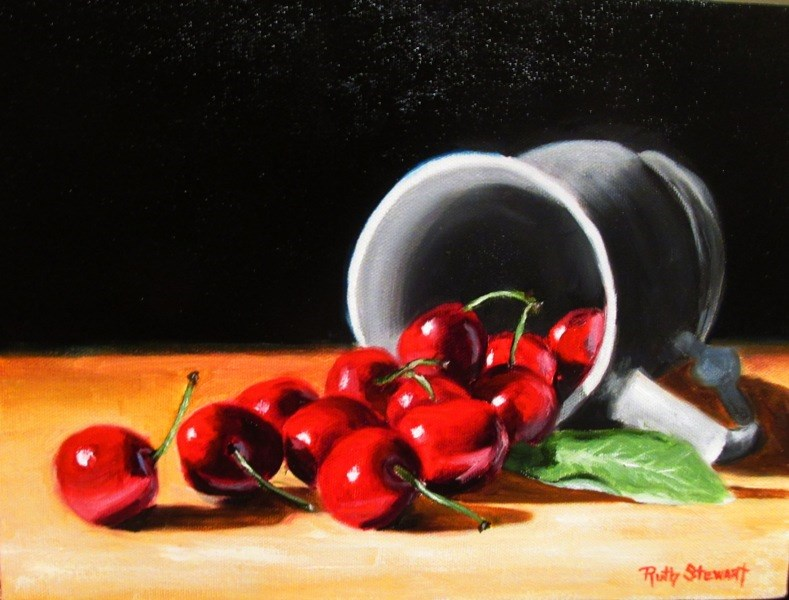 """Spilled Cherries"" original fine art by Ruth Stewart"