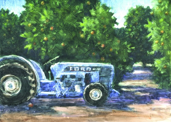 """""""The Old Ford Tractor"""" original fine art by Ginger Pena"""