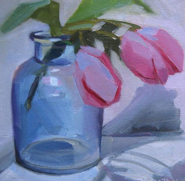 """Blue Jar and Pink Tulips"" original fine art by Robin Rosenthal"