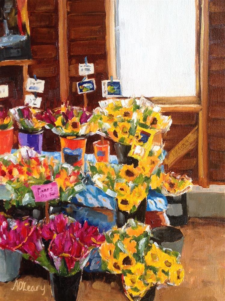 """Arnonskys Flower Barn"" original fine art by Alice O'Leary"