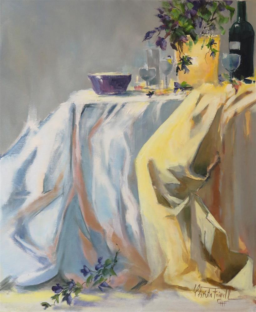 """Still life white and yellow"" original fine art by Christa Friedl"