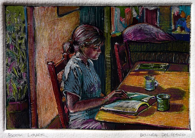 """Monotype: Book Lover"" original fine art by Belinda Del Pesco"