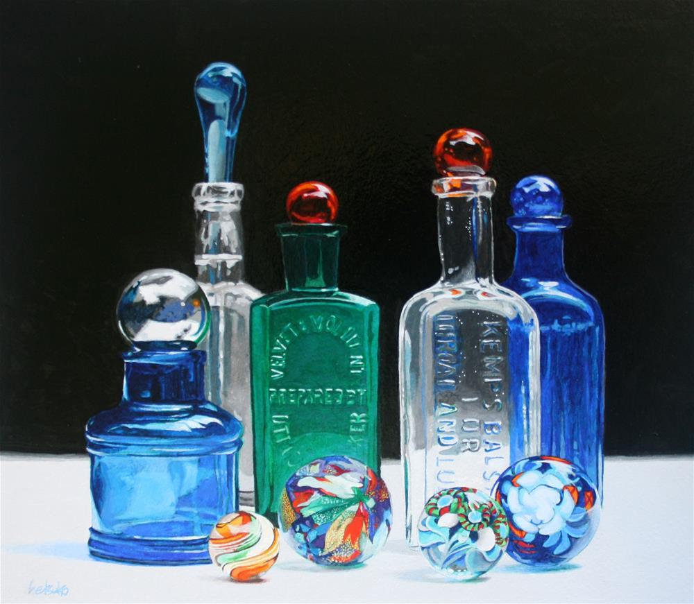 """""""Antique Bottles"""" original fine art by Setsuko Lawson"""