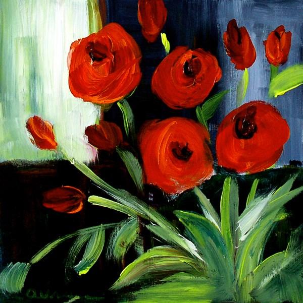 """""""Red Flowers"""" original fine art by Anna Vreman"""