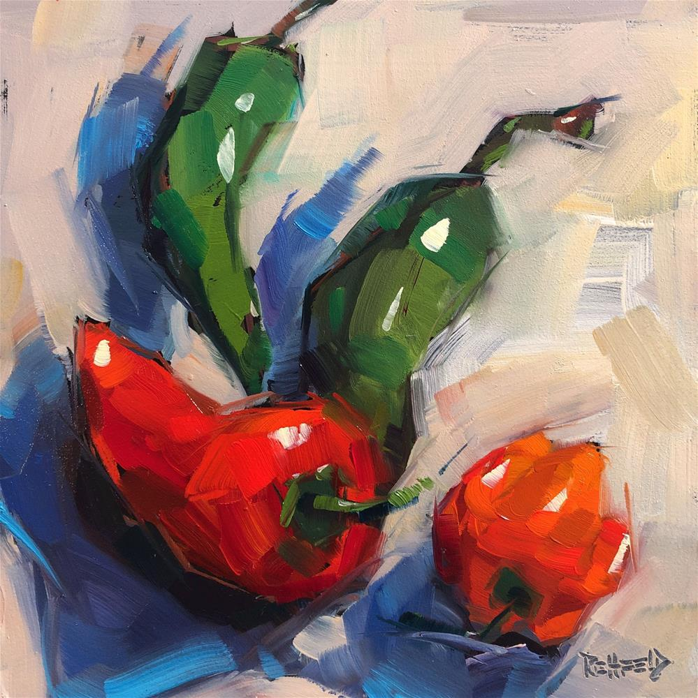 """Swirling Peppers"" original fine art by Cathleen Rehfeld"
